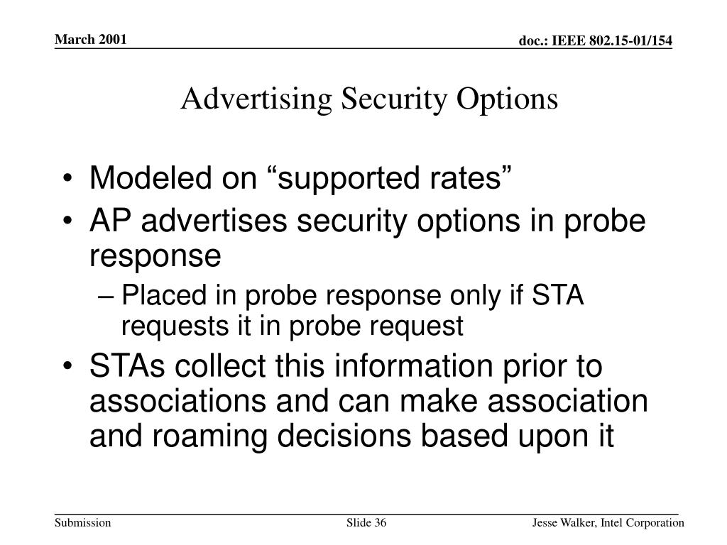 Advertising Security Options