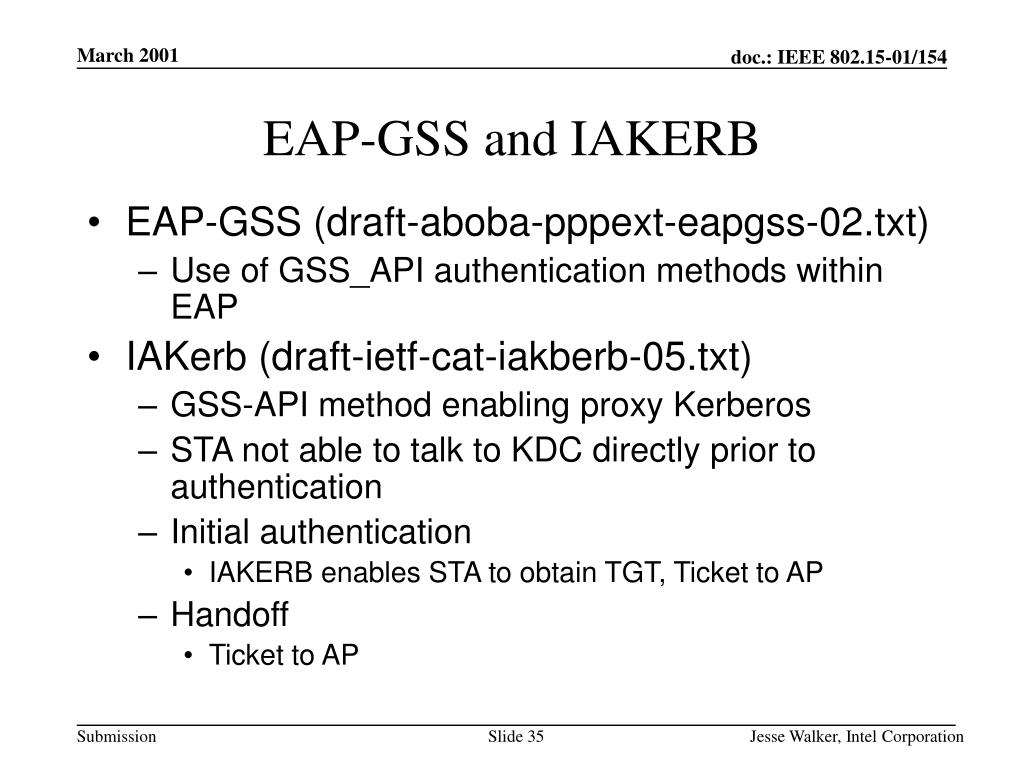 EAP-GSS and IAKERB