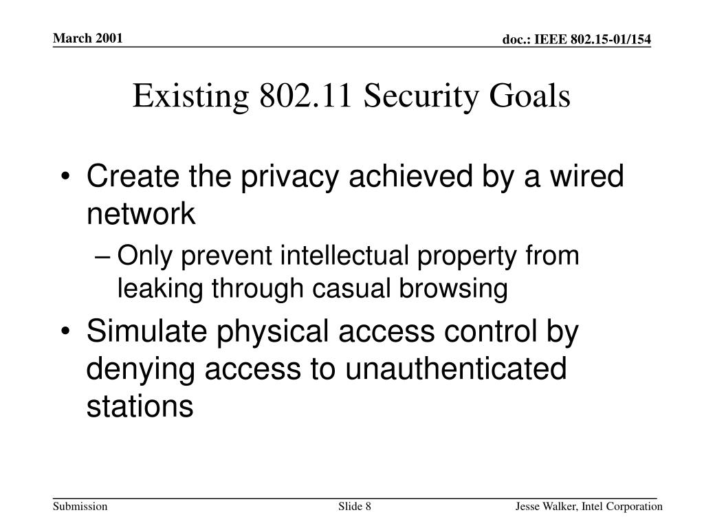 Existing 802.11 Security Goals