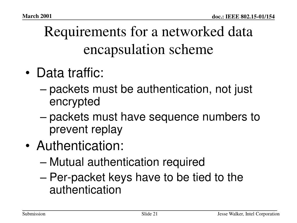 Requirements for a networked data encapsulation scheme