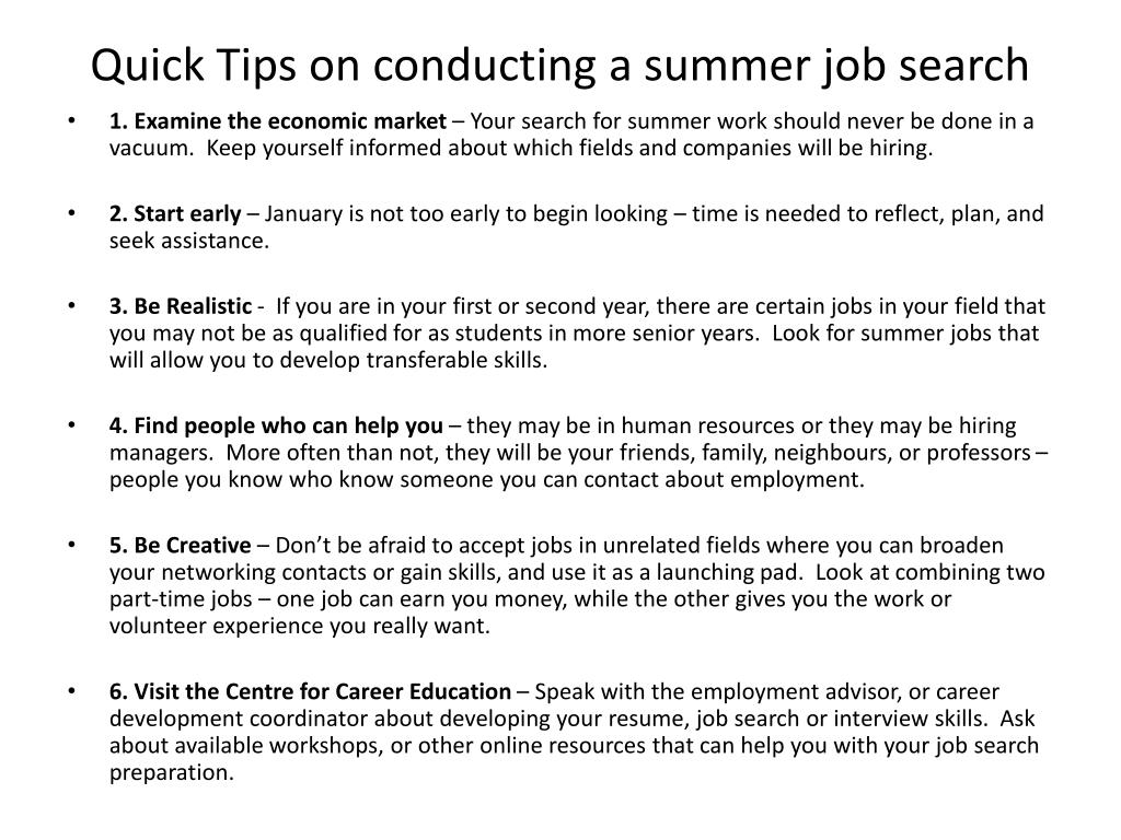 Quick Tips on conducting a summer job search