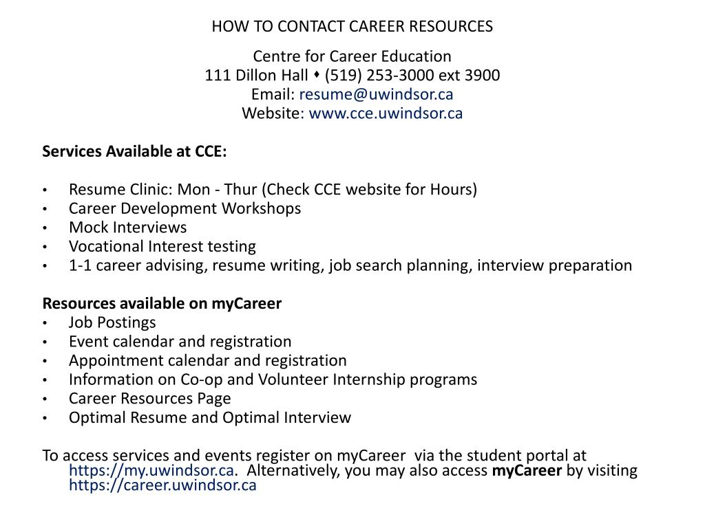 HOW TO CONTACT CAREER RESOURCES