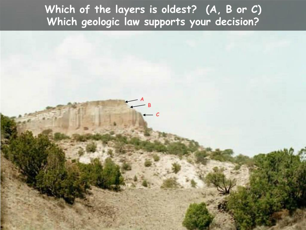 Which of the layers is oldest?  (A, B or C)