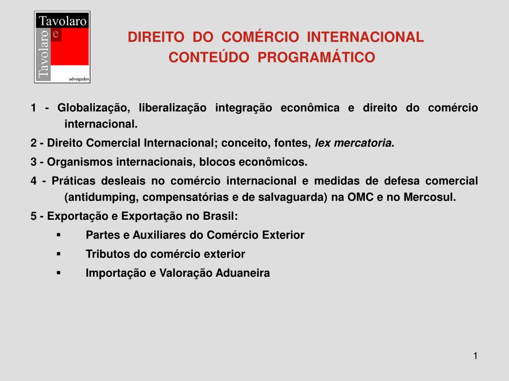 direito do com rcio internacional conte do program tico