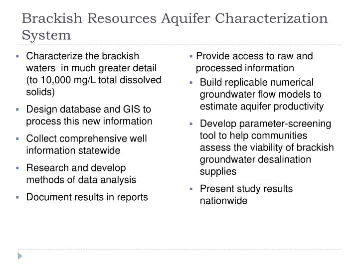 Brackish Resources Aquifer Characterization System