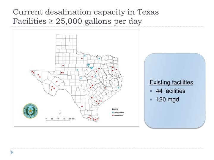 Current desalination capacity in Texas