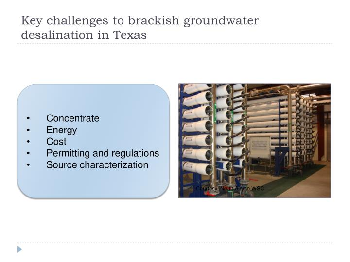 Key challenges to brackish groundwater desalination in Texas
