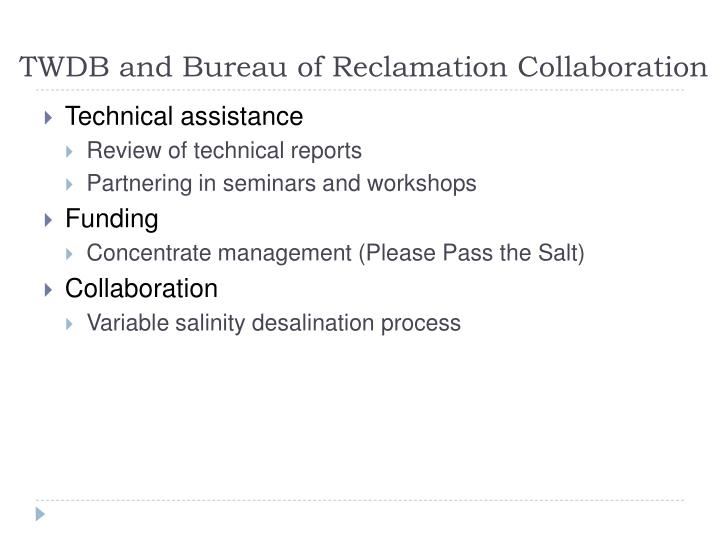 TWDB and Bureau of Reclamation Collaboration