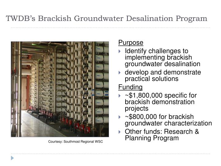 TWDB's Brackish Groundwater Desalination Program