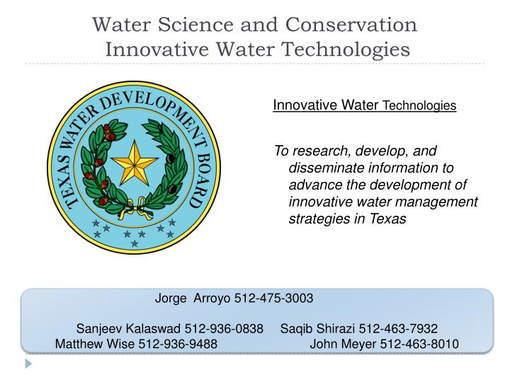 Water Science and Conservation