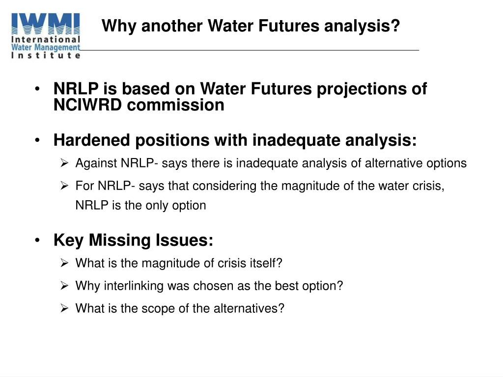 Why another Water Futures analysis?