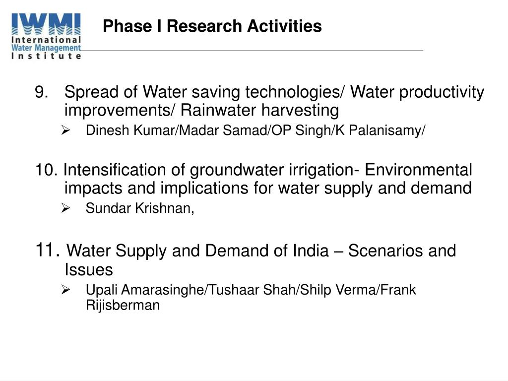 Phase I Research Activities