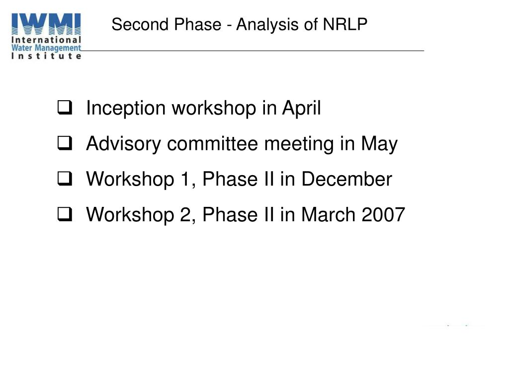 Second Phase - Analysis of NRLP