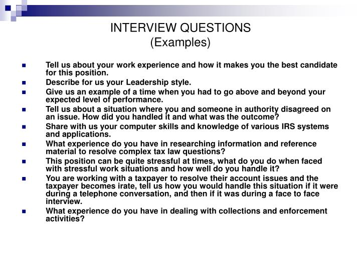 Interview questions examples