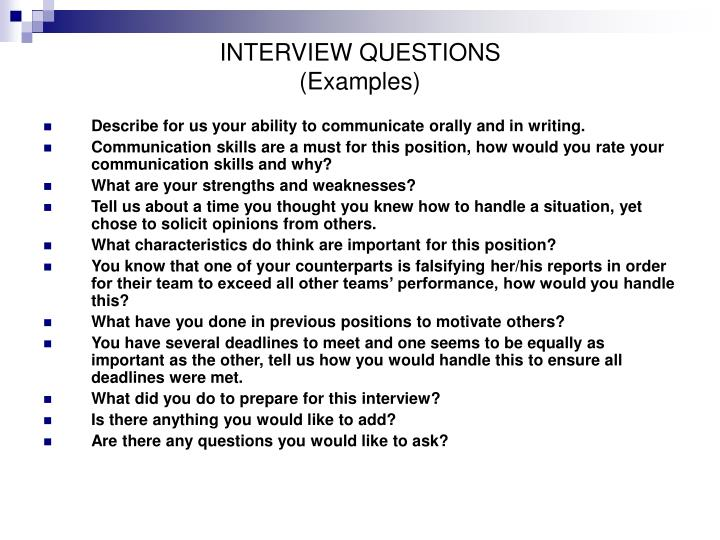 Interview questions examples2