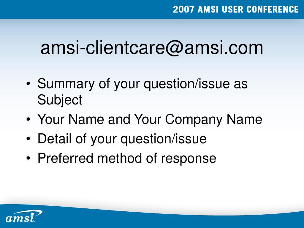 amsi-clientcare@amsi.com