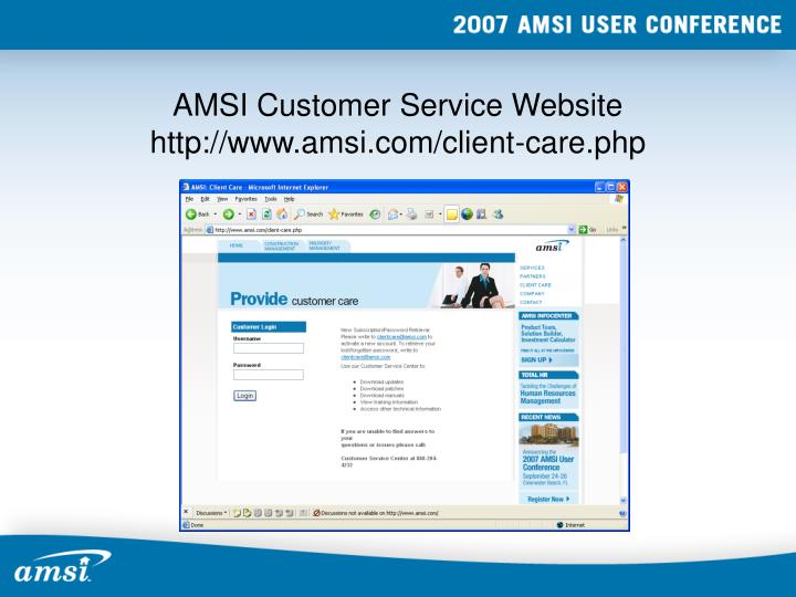 Amsi customer service website http www amsi com client care php