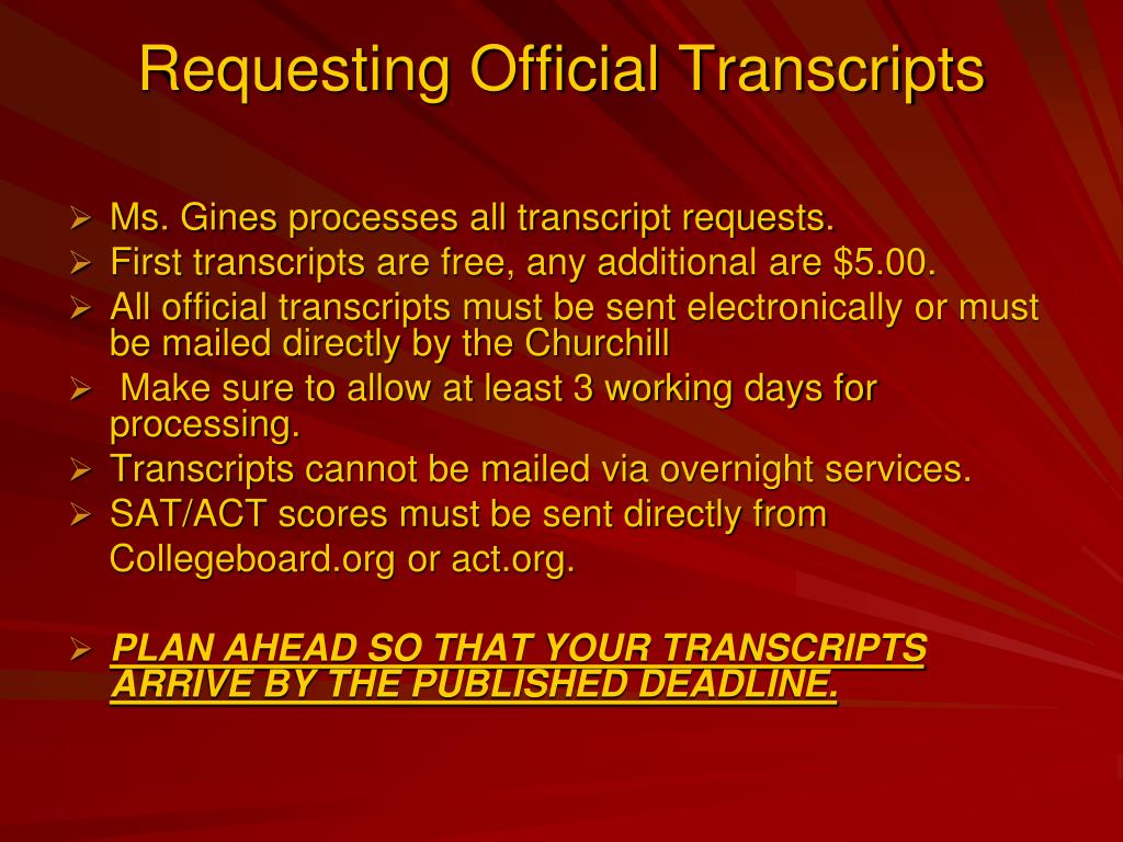 Requesting Official Transcripts