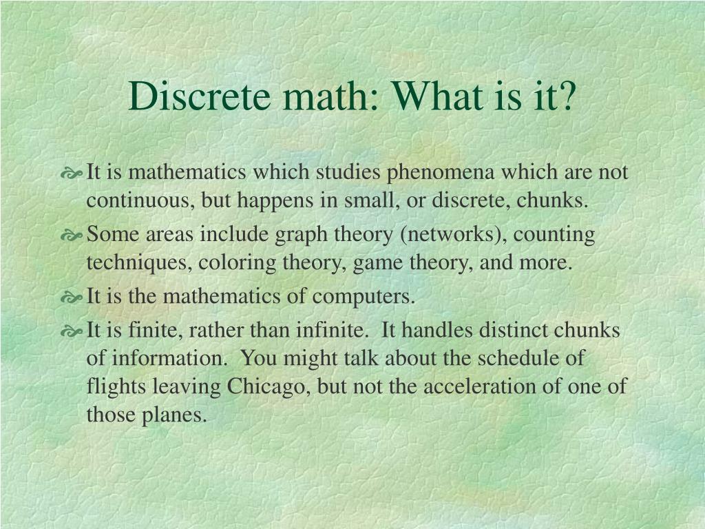 Discrete math: What is it?