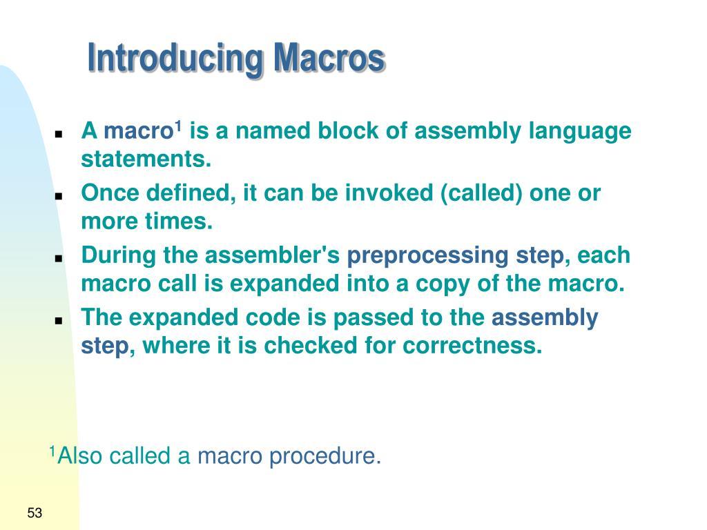 Introducing Macros