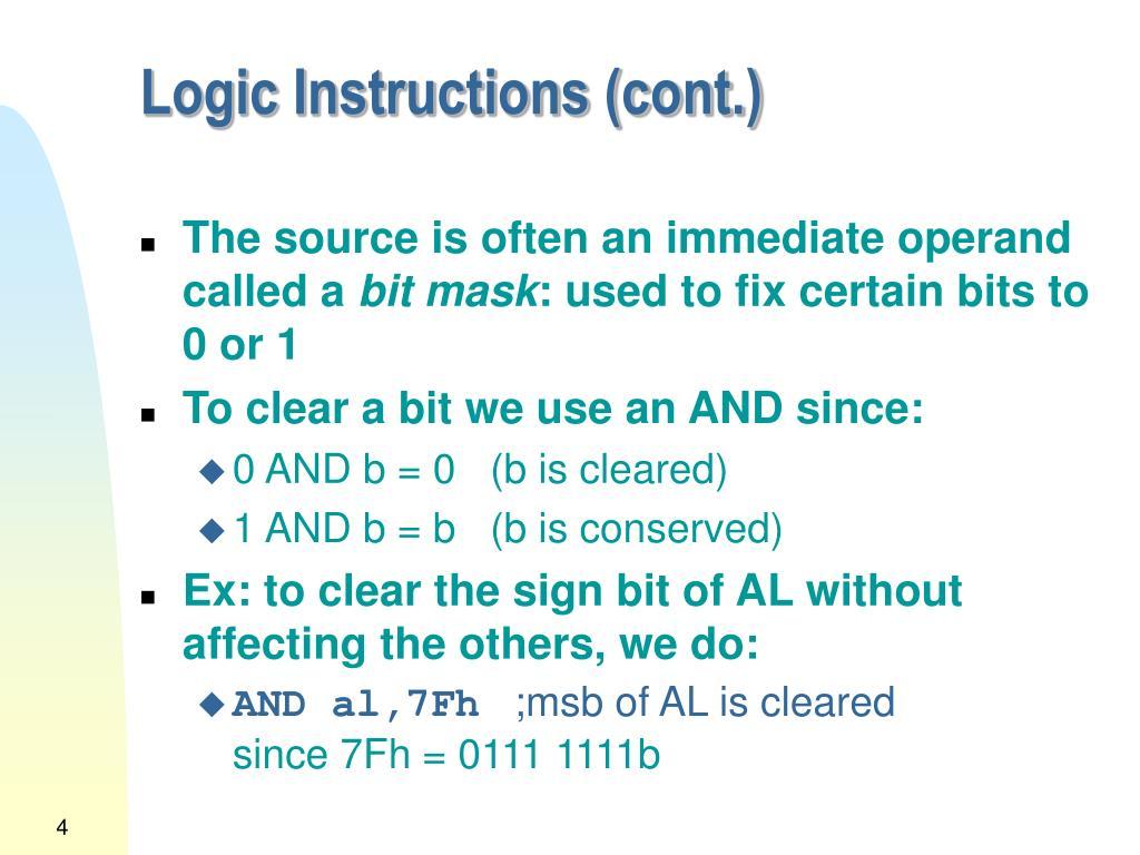 Logic Instructions (cont.)