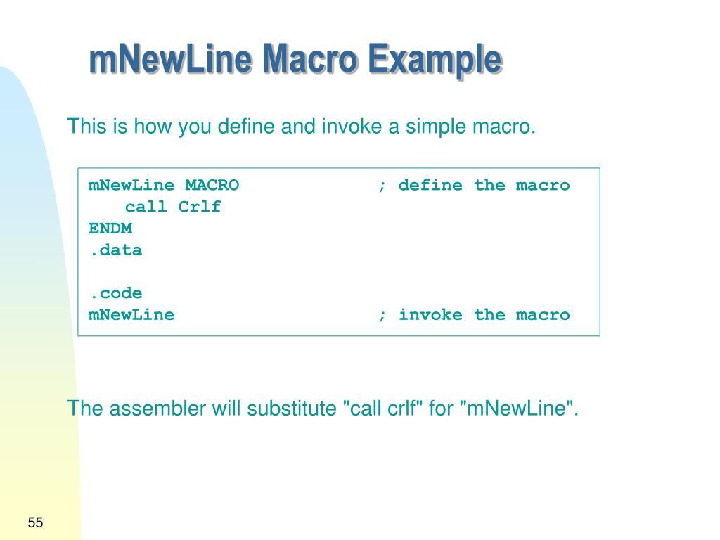 mNewLine Macro Example