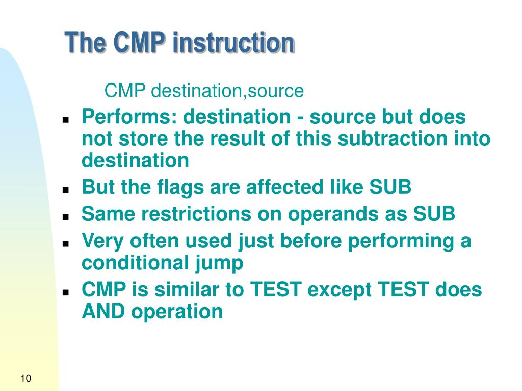 The CMP instruction