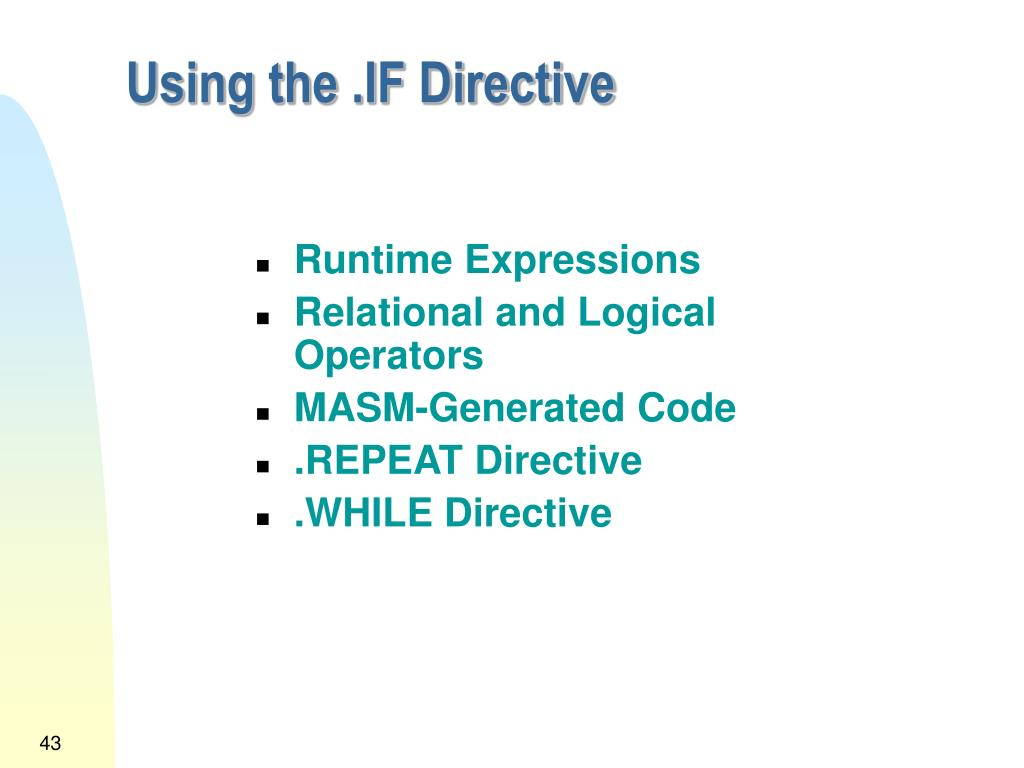 Using the .IF Directive