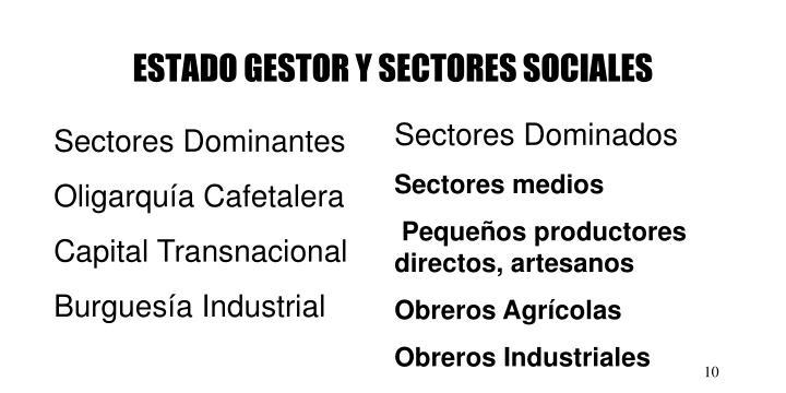 ESTADO GESTOR Y SECTORES SOCIALES