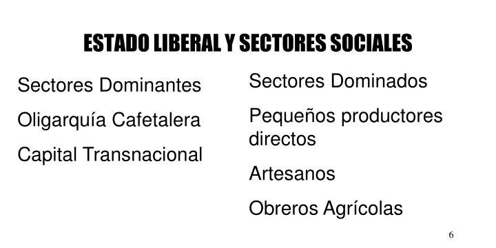 ESTADO LIBERAL Y SECTORES SOCIALES
