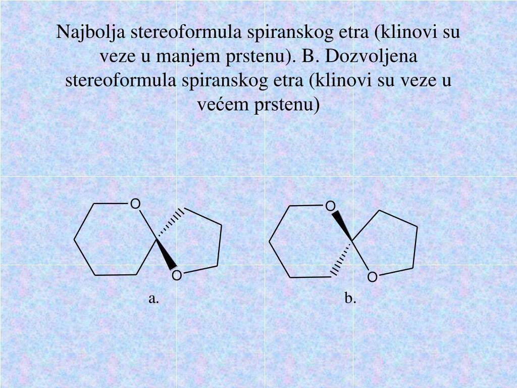 Najbolja stereoformula spiranskog etra (klinovi su veze u manjem prstenu). B. Dozvoljena stereoformula spiranskog etra (klinovi su veze u većem prstenu)