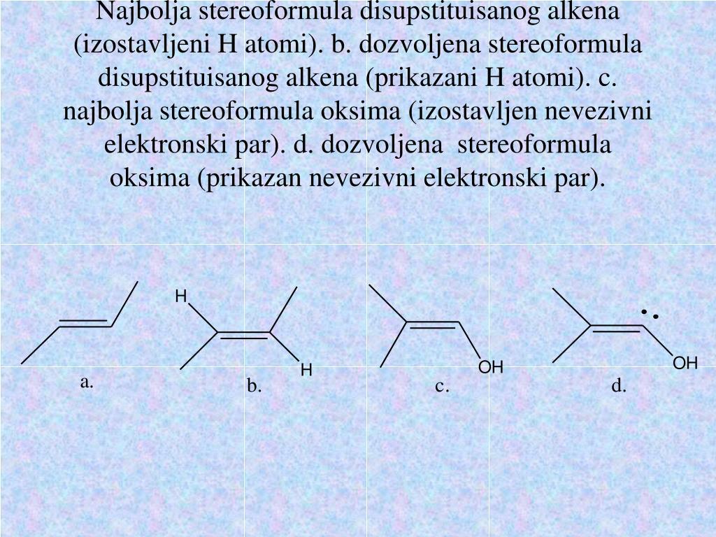 Najbolja stereoformula disupstituisanog alkena (izostavljeni H atomi). b. dozvoljena stereoformula disupstituisanog alkena (prikazani H atomi). c. najbolja stereoformula oksima (izostavljen nevezivni elektronski par). d. dozvoljena  stereoformula oksima (prikazan nevezivni elektronski par).