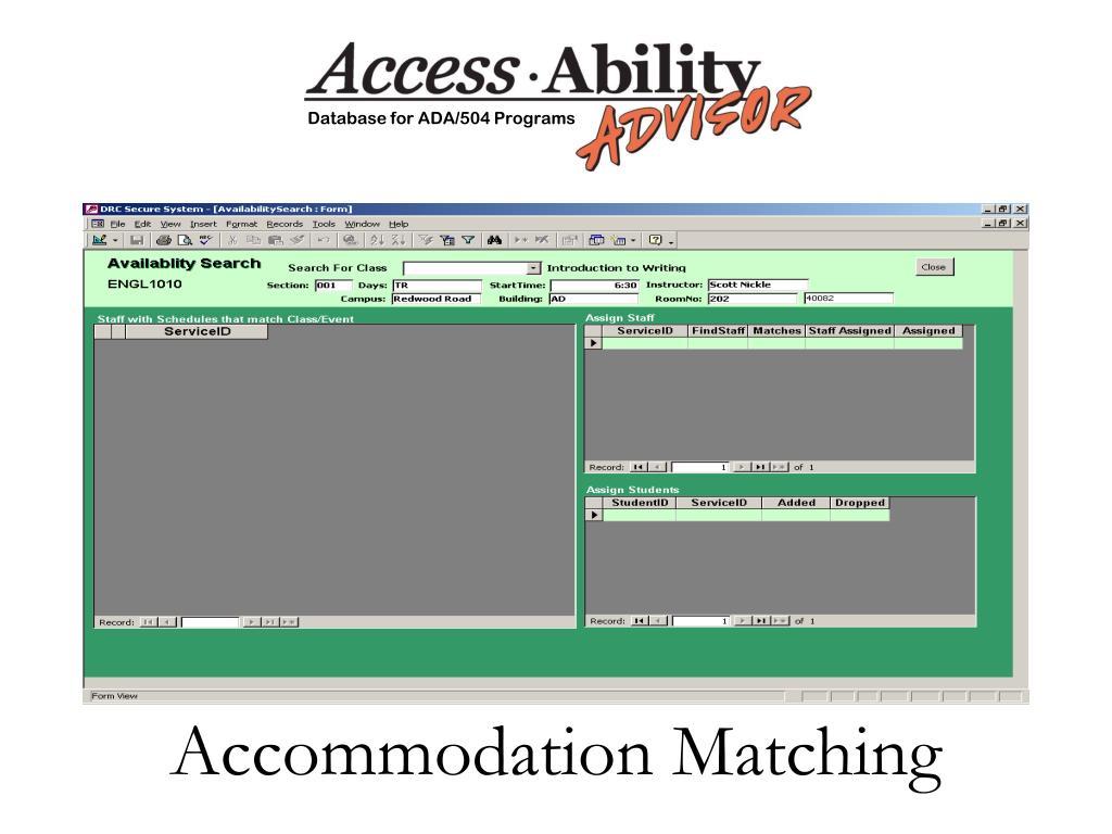 Accommodation Matching
