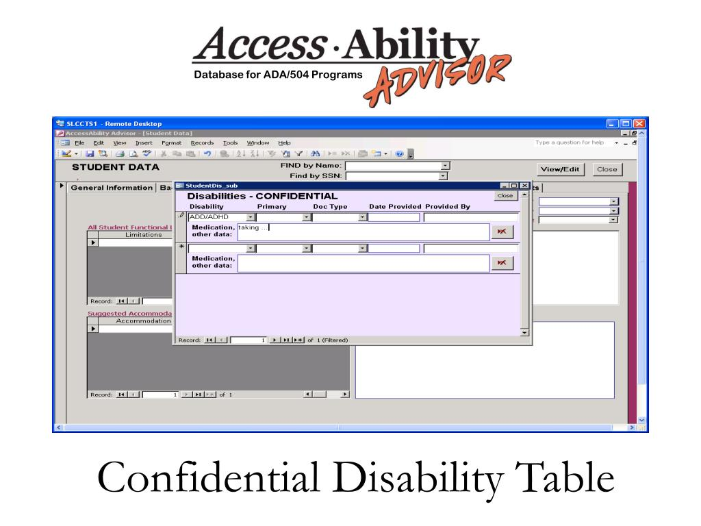 Confidential Disability Table