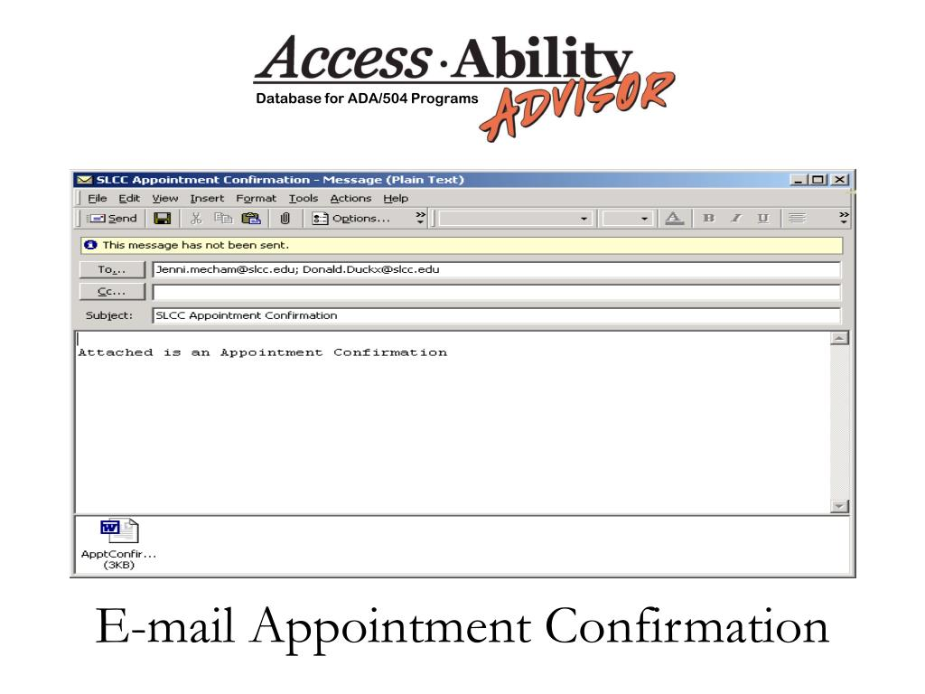 E-mail Appointment Confirmation