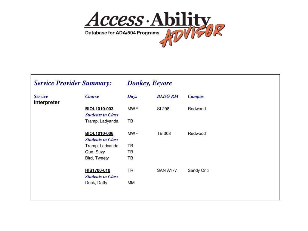 Database for ADA/504 Programs