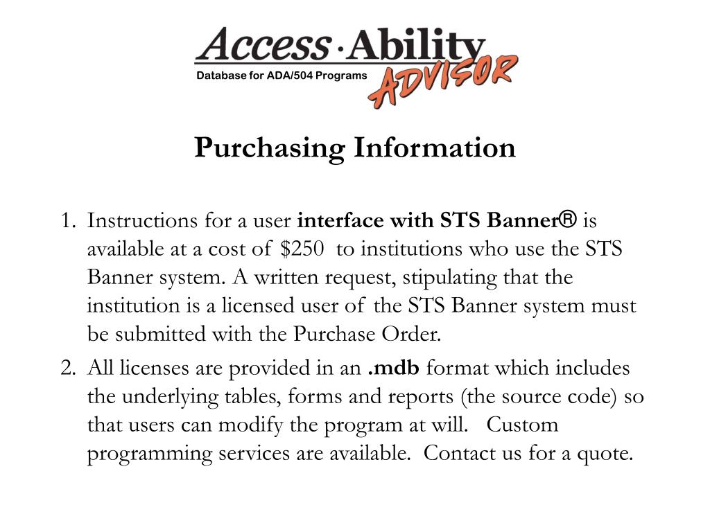 Purchasing Information