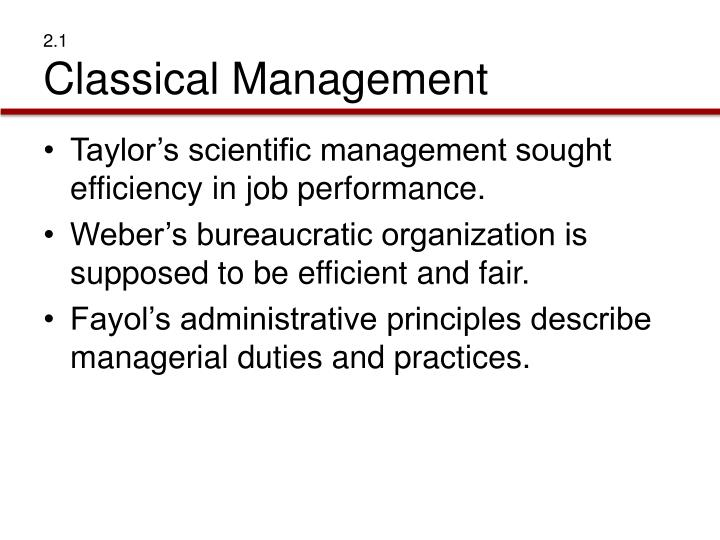 2 1 classical management