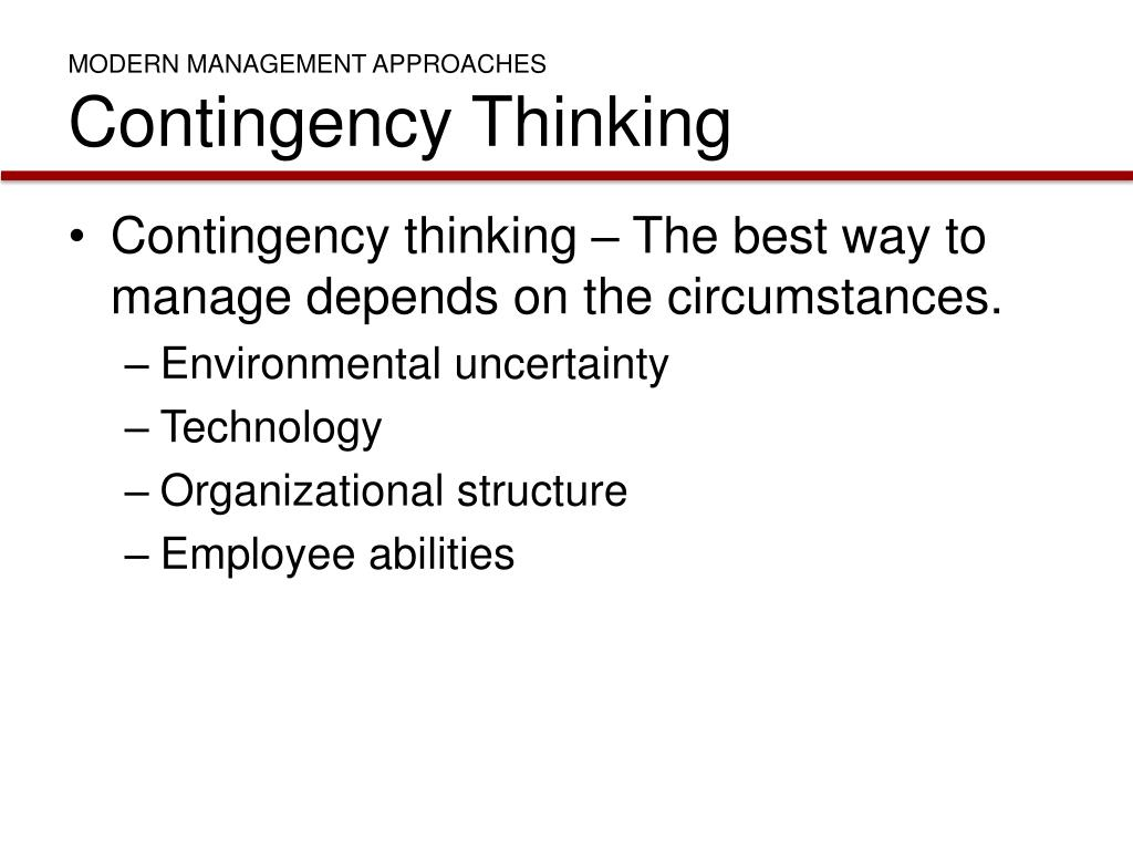 MODERN MANAGEMENT APPROACHES