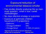 exposure reduction of environmental tobacco smoke