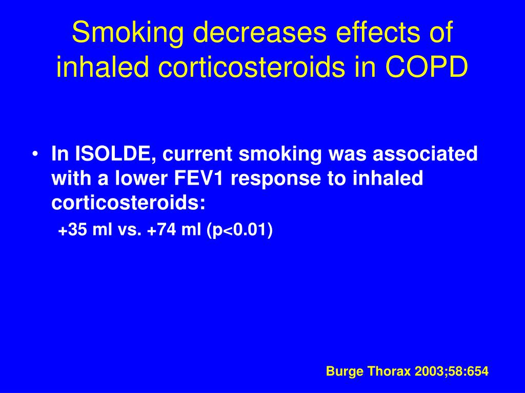 Smoking decreases effects of inhaled corticosteroids in COPD