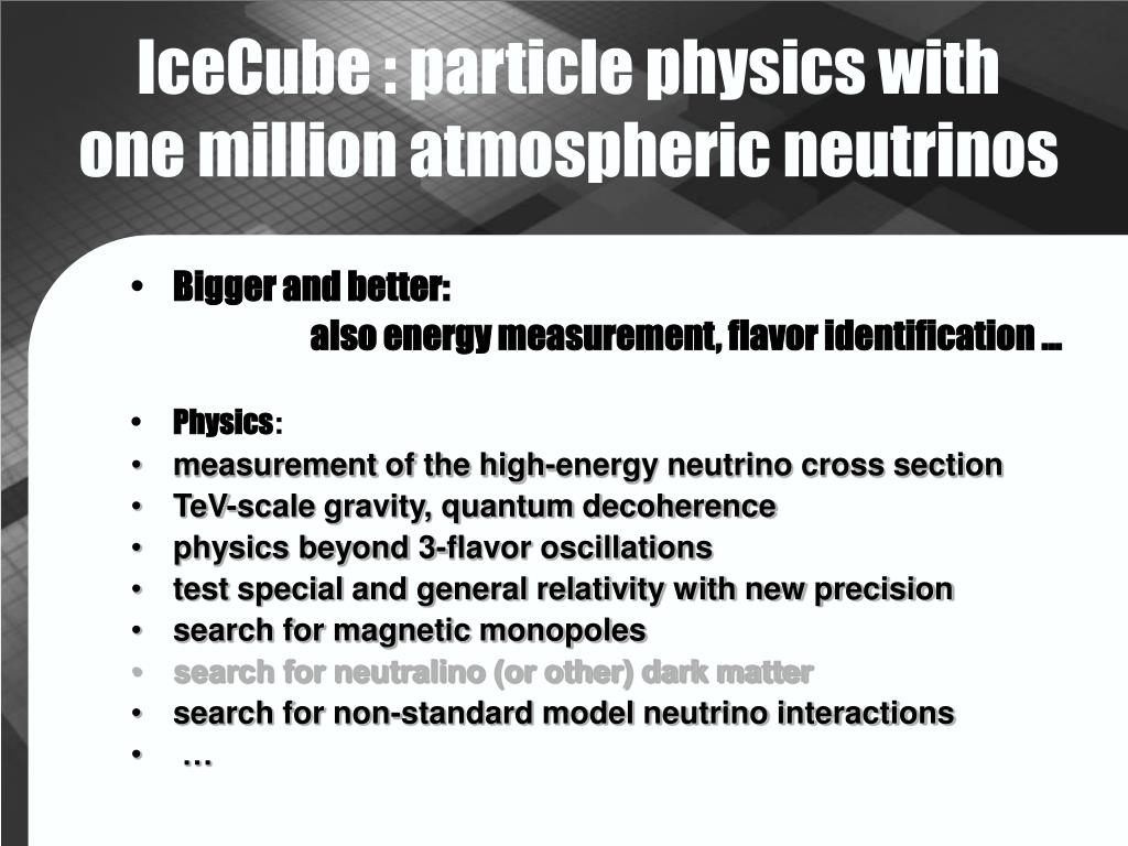 IceCube : particle physics with