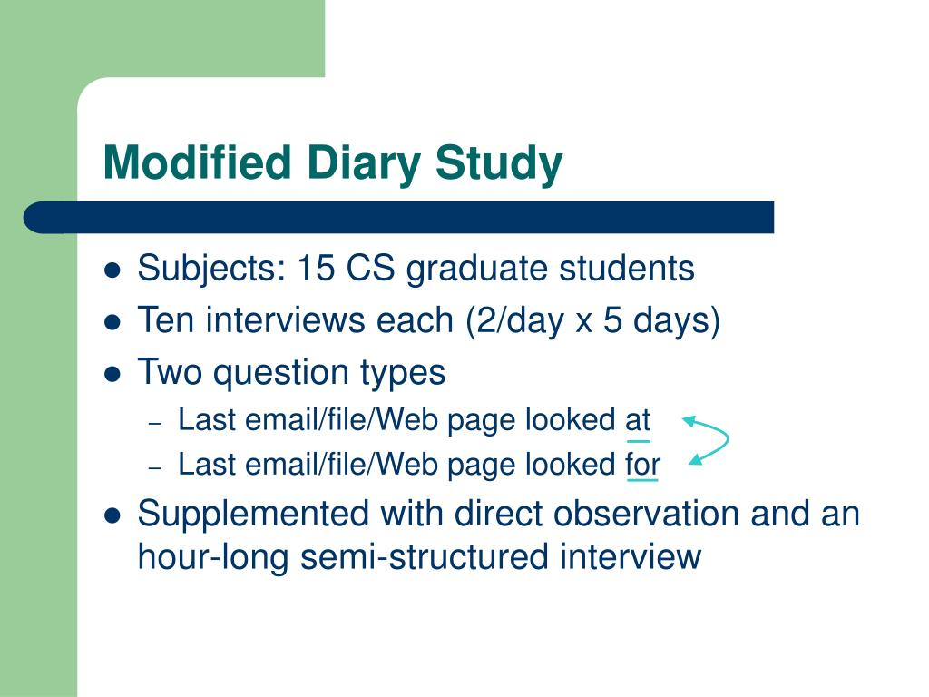 Modified Diary Study