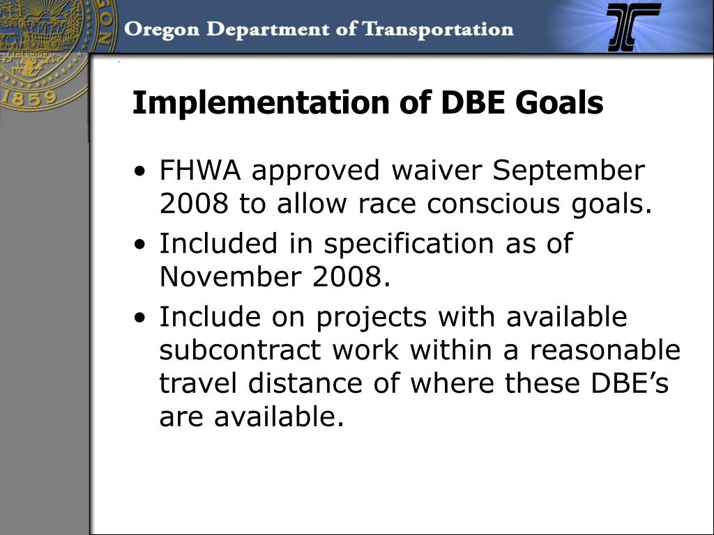 Implementation of DBE Goals