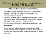 effective instruction for adolescent struggling readers putting it all together
