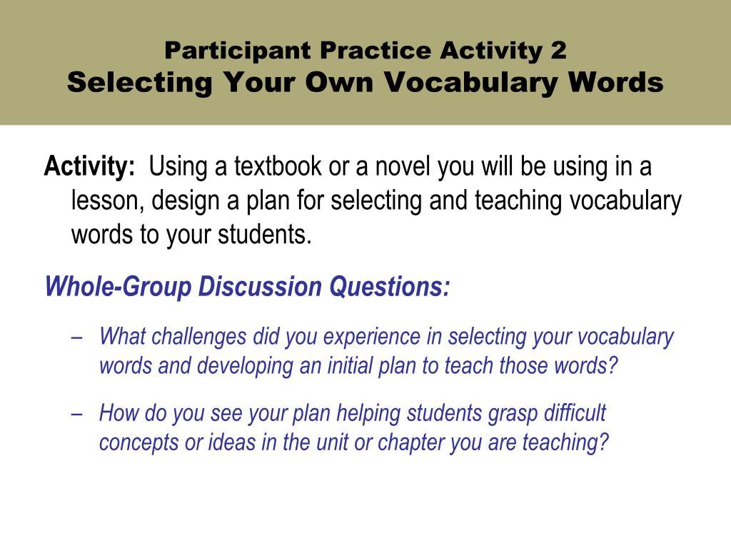 Participant Practice Activity 2