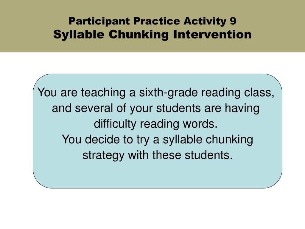 Participant Practice Activity 9