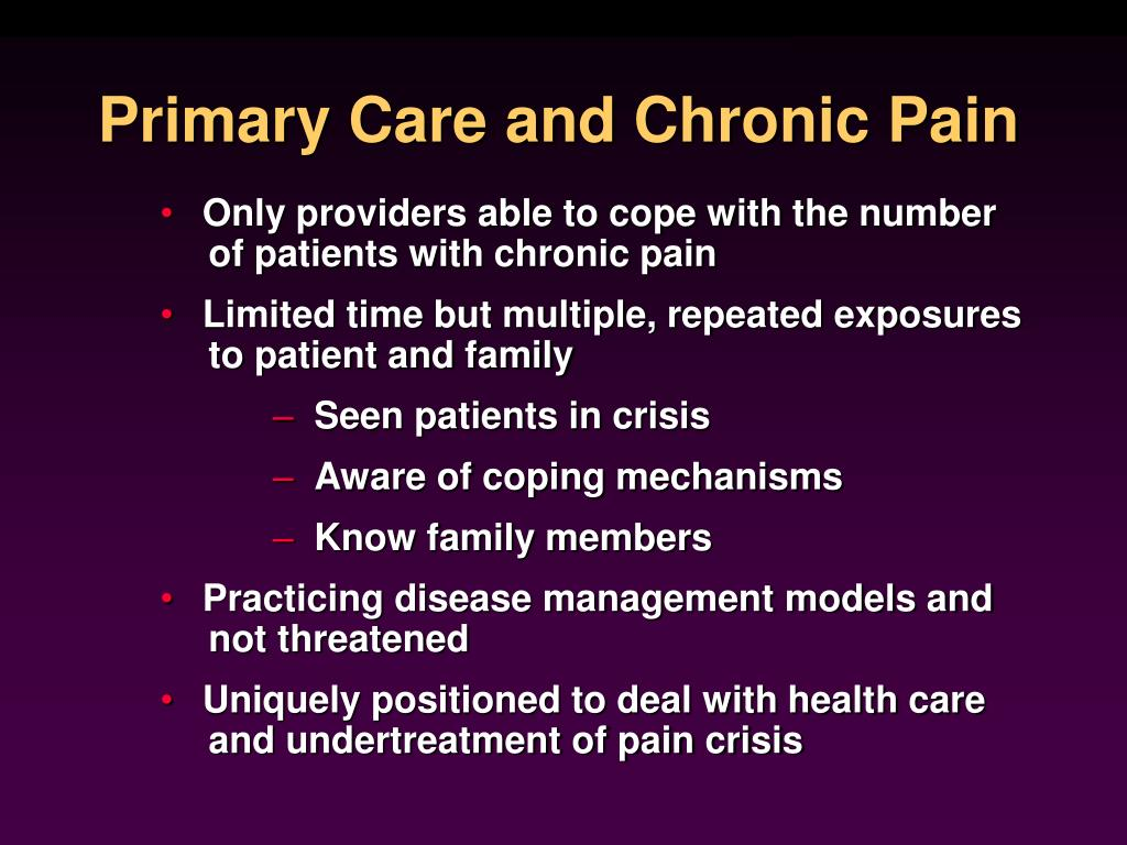 Primary Care and Chronic Pain