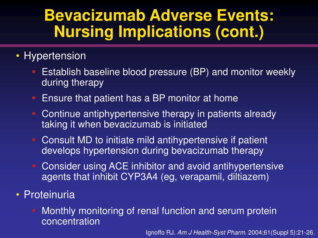 Bevacizumab Adverse Events: