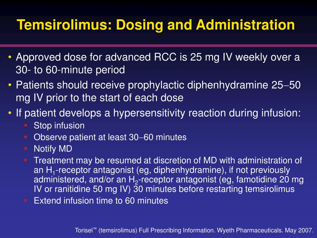 Temsirolimus: Dosing and Administration